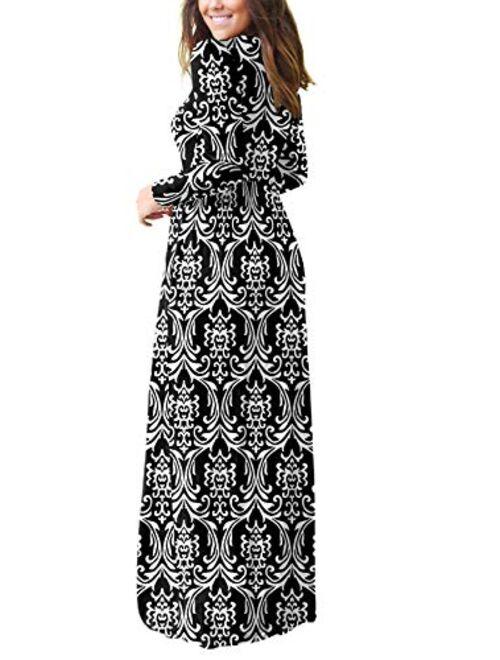 VIISHOW Long Sleeve Loose Plain Empire Waist Maxi Dresses Casual Long Dresses With Pockets