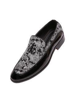 Bolano Mens Paisley and Patent Tuxedo Slipper Dress Shoe with Tassel, Comfortable Slip On Design