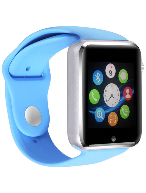 AmazingForLess Premium Blue Bluetooth Smart Wrist Watch Phone mate for Android Touch Screen Blue Tooth Smart Watch with Camera for Adults for Kids (Supports [does not include] SIM+MEMOR