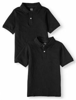 Boys School Uniform Short Sleeve Pique Polos, 2-piece Multipack (little Boys & Big Boys)