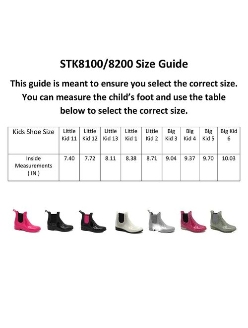 Storm Kidz Girls Booties Rainboots - Chelsea Boots Kids Little Kid/Big Kid Waterproof with Handle