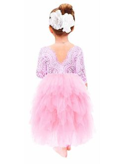 2Bunnies Girl Beaded Peony Lace Back A-Line Tiered Tutu Tulle Flower Girl Dress (All Pink Maxi, 24M/2T)