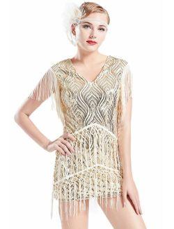 BABEYOND 1920s Flapper Dress Long Fringed Gatsby Dress Roaring 20s Sequins Beaded Embellished Dress Vintage Art Deco Dress