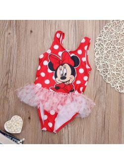 Baby Girl Kid Minny Mickey Mouse Beach Bathing Swimwear Swimsuit Tankinis Bikini