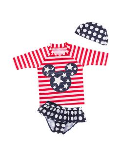 Styles I Love Kid Girls Chic Rash Guard Swimsuit Pool Party Swim Wear Beach Bathing Suit (American Flag Mouse 3pcs, 130/5-6 Years)