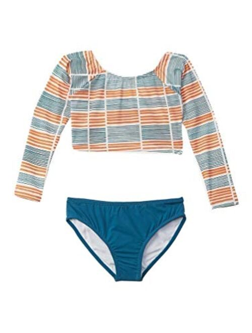 Azul Girls Orange Polymide Striped Long Sleeves Rashguard