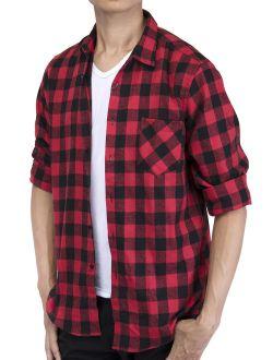 Men's Long Sleeve Plaid Shirt Flannel Plaid Shirt Mens Casual Button-down Shirts Workshirt Red Black Blue