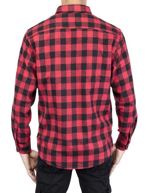 LELINTA Men's Long Sleeve Plaid Shirt Flannel Plaid Shirt Mens Casual Button-down Shirts Workshirt Red Black Blue