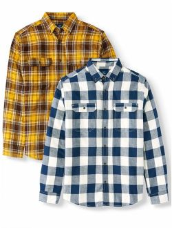 Men's And Big And Tall Long Sleeve Flannel Shirt 2 Pack, Up To Size 3xlt