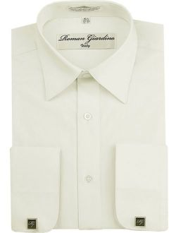 Roman Giardino Menas Regular Fit Long Sleeve Button Dress Shirt Adjustable Cuffs W/ Free CuffLinks