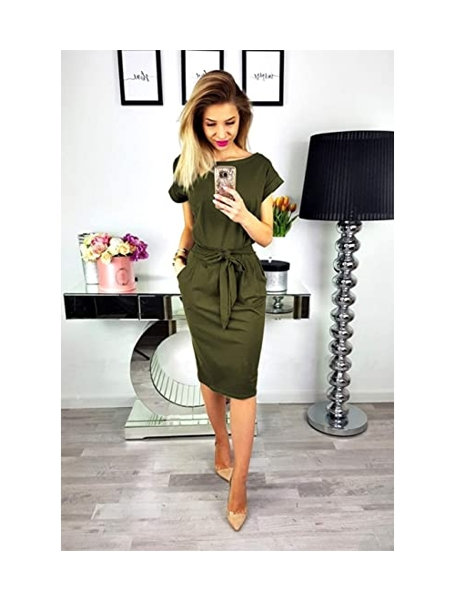 PRETTYGARDEN Women's 2019 Casual Short Sleeve Party Bodycon Sheath Belted Dress with Pockets