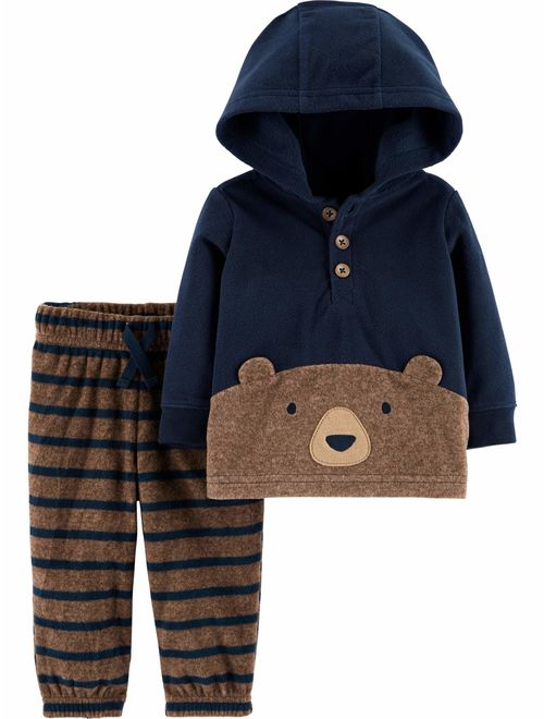 Child of Mine by Carter's Toddler Boys Fleece Hoodie Long Sleeve Shirt and Pant, 2pc Outfit Set