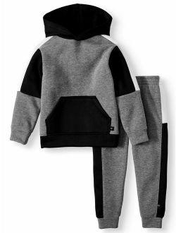 Cheetah Toddler Boy Colorblock Hoodie Sweatshirt & Taped Jogger Pant, 2 piece Outfit Set