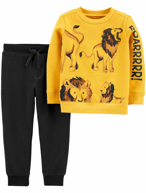 Child of Mine by Carter's Toddler Boys Long Sleeve Lion Roar Shirt & Pant, 2 pc Outfit Set