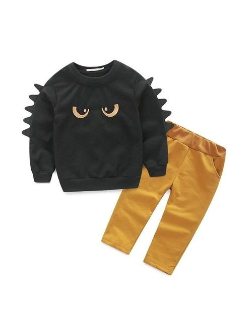 Cute 2pc Pullover Sweatshirt Top + Pant Clothes Set Baby Toddler Boy Outfit Suit