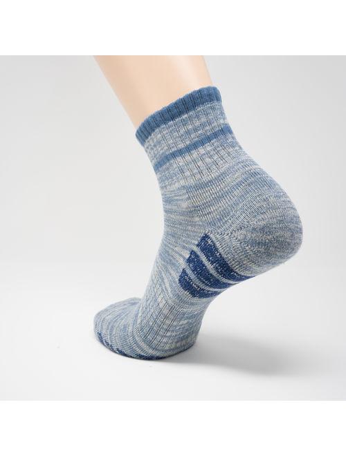 u&i Men's Performance Cushion Cotton Comfort Mid Cut Quarter Athletic Socks, Grey (4-Pack)