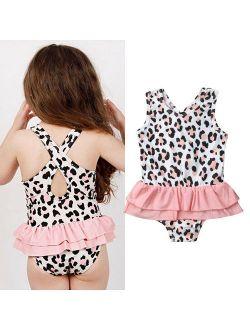 Cute Toddler Girl Swimwear Leopard Print Swimsuit One Piece Swimwear Beachwear Kids Girls Swimsuit Bathing Suit Swimming Costume
