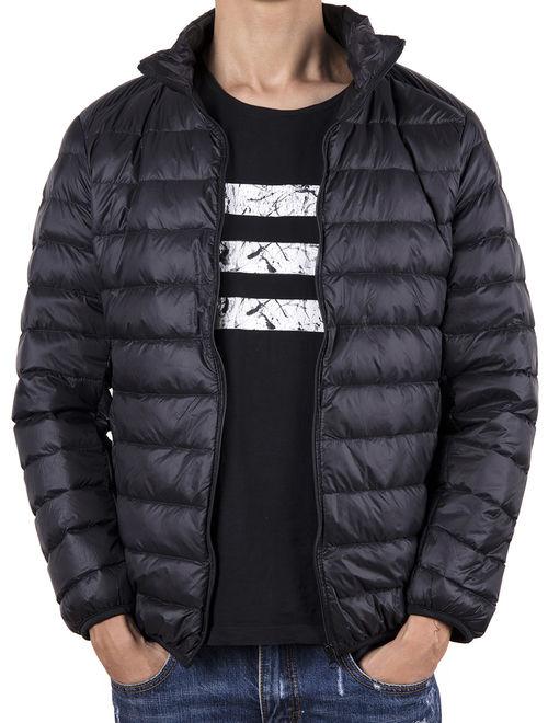 LELINTA Men's New Style Big Size Blue Down Winter Ultralight Down Jacket Casual Puffer Zipper Jacket