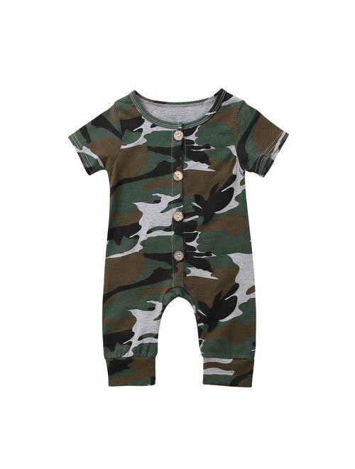 Newborn Infant Baby Boy Girl Kids Camo Romper Jumpsuit Bodysuit Clothes Outfits 0-6 Months