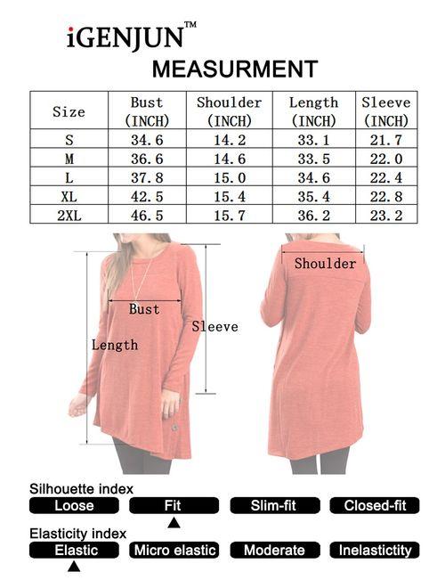 iGENJUN Women's Long Sleeve Scoop Neck Button Side Tunic Dress