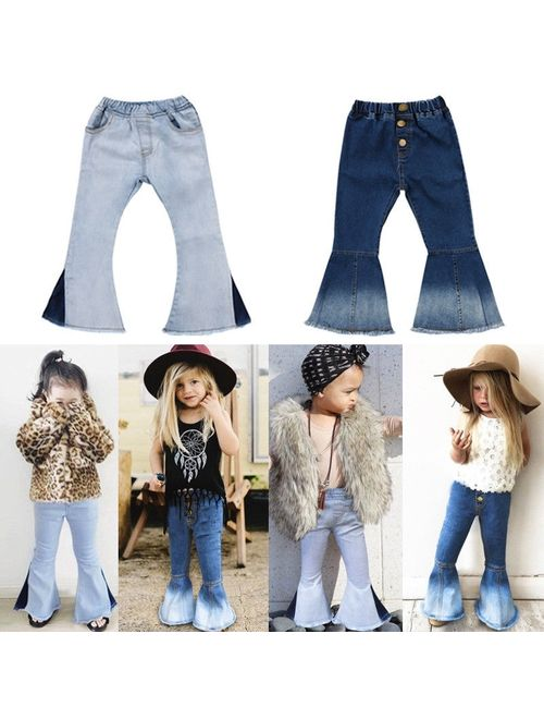 Fashion Toddler Baby Kids Girls Denim Bell Bottom Pants Jeans Wide Leg Trousers 2-7Yrs