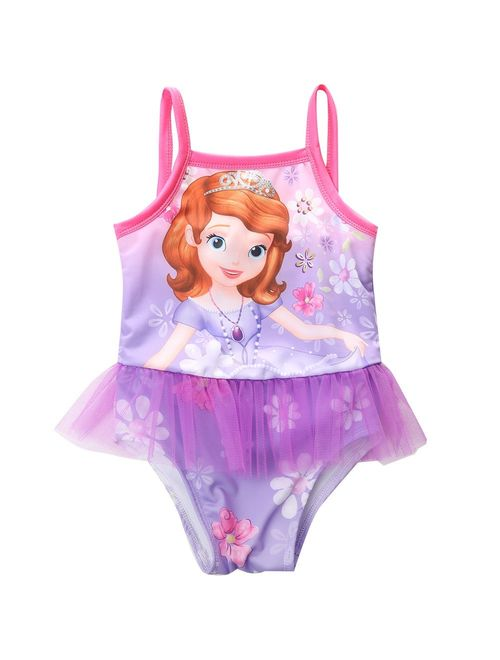 Girl Kids Strappy Floral Swimsuit Bathing One-piece Tutu Swimming Suit Swimwear 2-8Y