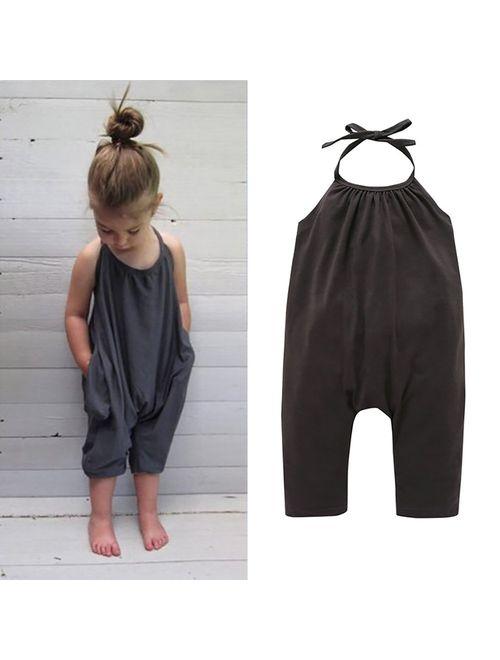 Darkyazi Baby Girls Cute Grey Summer Jumpsuits for Kids Backless Harem Strap Romper Jumpsuit Toddler Pants Size 2-8Y