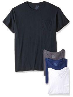 Cotton Solid Crew Neck Pocket T-shirt Multipack