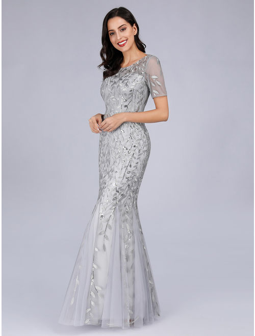 Ever-Pretty Womens Fitted Mother of the Groom Dresses for Women 07707 Sliver US8