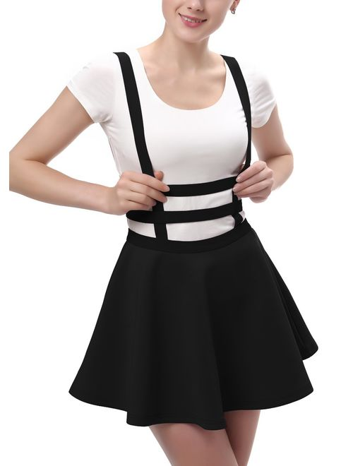 Urban CoCo Womens Elastic Waist Pleated Short Braces Skirt