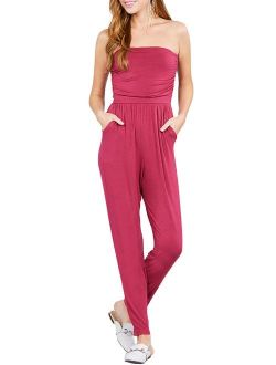 Made by Olivia Women's Strapless Tube Top Front Slanted Pocket Jumpsuit Brick M