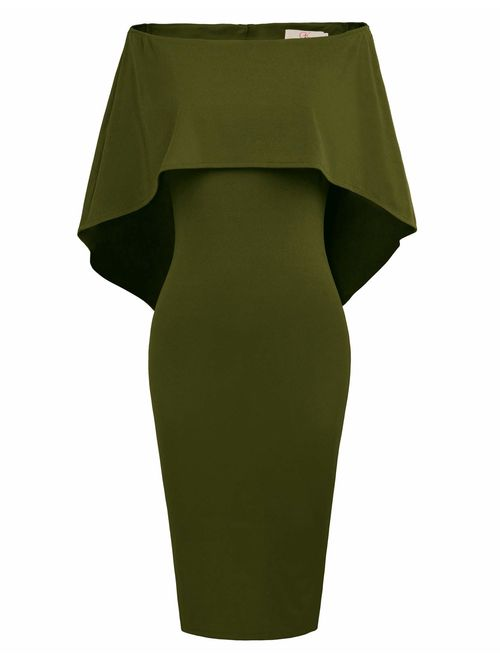 GRACE KARIN Women Off Shoulder Batwing Cape Midi Dress