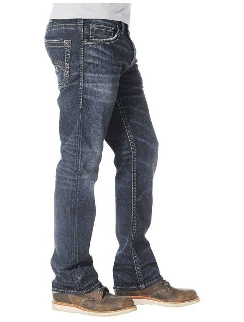 Silver Jeans Denim Mens Nash Straight Whiskered Dark Wash M22434SMC409