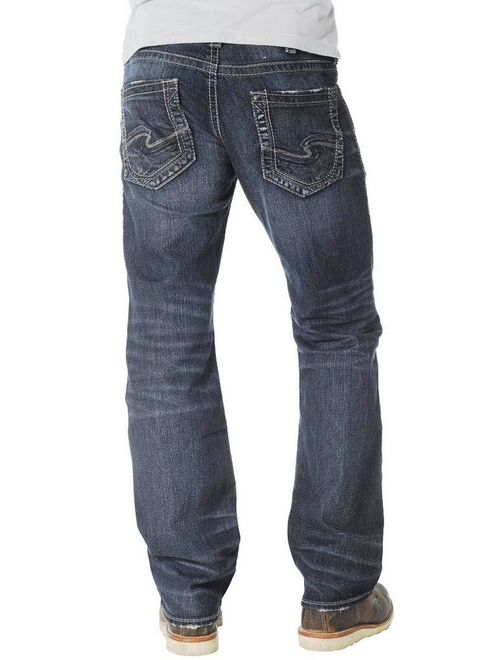 Silver Jeans Denim Mens Nash Straight Whiskered Dark Wash M22434SMC409