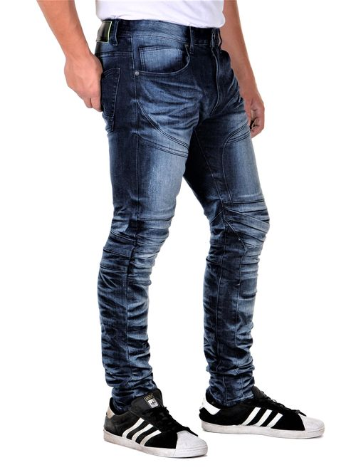 Smoke Rise Mens Slimfit Articulated Leg Fashion Denim Jeans Dark Blue