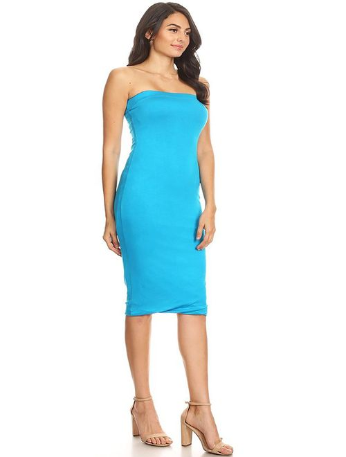 MOA COLLECTION Women's Solid Casual Lined Tube Top Body-Con Fit Midi Dress/Made in USA