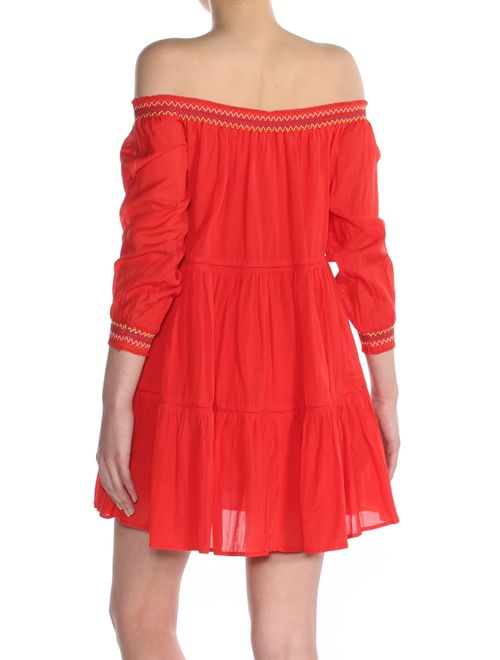 FREE PEOPLE Womens Red Embroidered 3/4 Sleeve Off Shoulder Mini Dress Size: XS