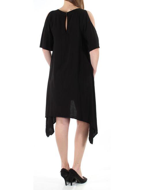 Chelsea Sky Womens Asymmetrical Double Button Dress
