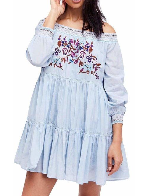 Women's Large Embroidered Off Shoulder Dress L