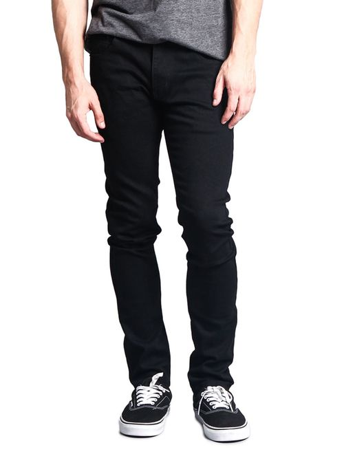 Men's Skinny Fit Stretch Raw Denim Jeans DL1004 - BLACK - 28/32