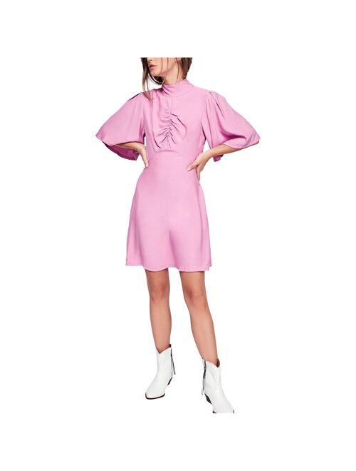 Ruched Mock Neck Women's Sheath Dress 12