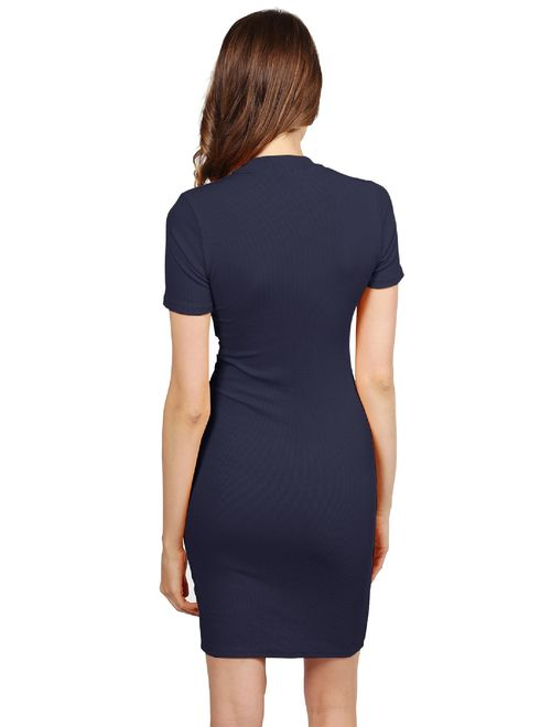 Women's Solid Ripped Front Slit Choker Neck Sexy Dress
