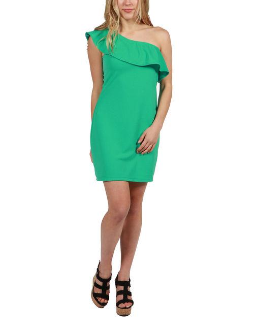 24Seven Comfort Apparel Wendy One Shoulder Dress