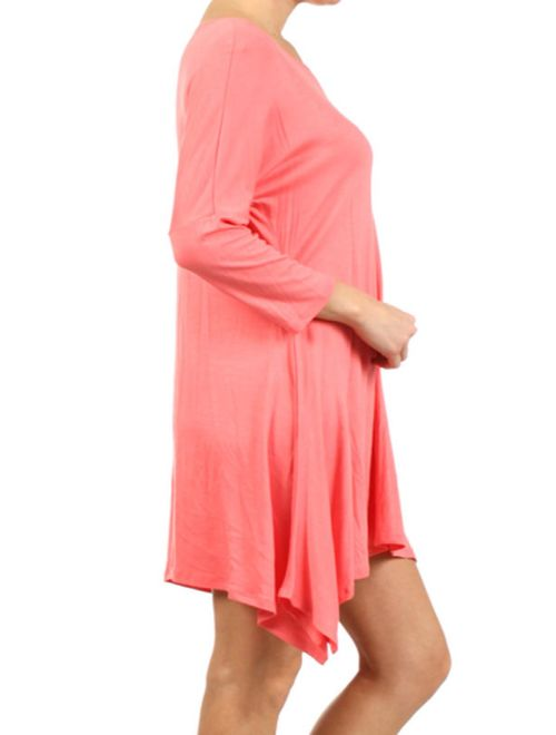 MOA COLLECTION Women's Solid Casual Knit Loose Fit 3/4 Sleeve Tunic Midi Dress/Made in USA