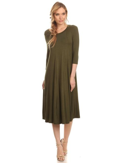 Women's 3/4 sleeves solid midi dress