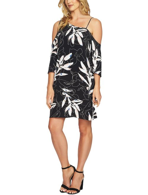 1.State Womens Printed One-Shoulder Cocktail Dress