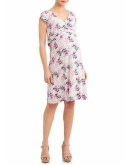 "Liz Lange Maternity Cap Sleeve ""Lift Up"" A Line Nursing Wrap Dress"