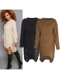 Autumn Winter Sexy Women Long Sleeve Knit BodyCon Slim Party Sweater Mini Dress