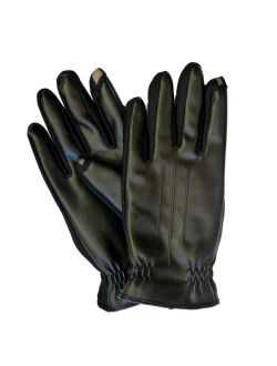 Smart Touch Men Black Faux Leather Touchscreen Gloves Smartouch Text