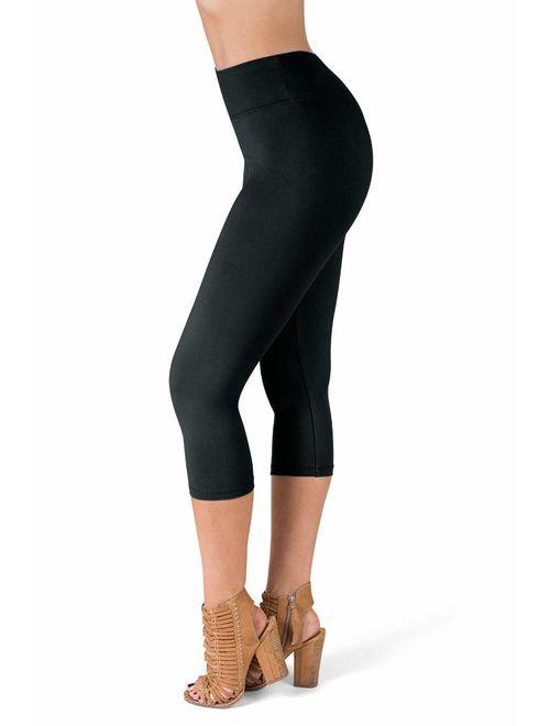 SATINA High Waisted Super Soft Reg & Plus Size Capri Leggings